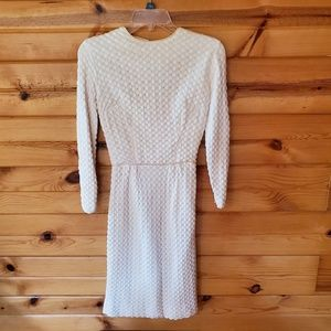 1950s Unlabeled Ivory, Lined, Knit Wiggle Dress